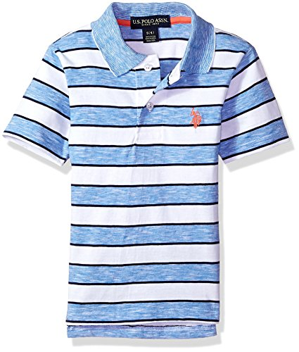 U.S. Polo Assn. Boys' Big Short Sleeve Striped Polo Shirt, Space Dyed slub Flight Blue, 14/16
