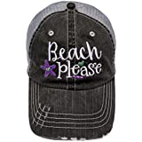 """Embroidered """"Beach Please"""" Distressed Look Grey Trucker Cap Hat"""