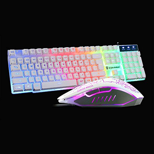 04936719803 ... LexonElec Wired Keyboard Mouse Combo Gamer T6 Rainbow LED Backlit  Multimedia Ergonomic Usb Pro Gaming Keypad ...