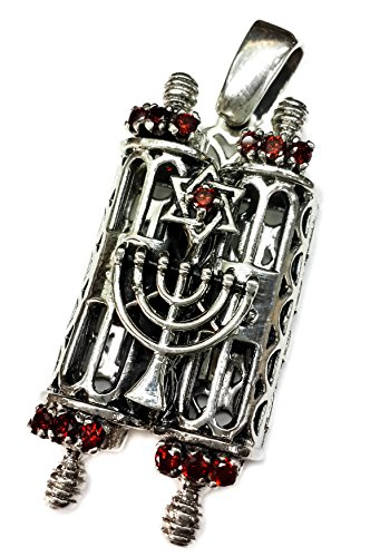 Jewish Hebrew Torah Pendant 1.7 Silver 925 Open up Bible Scroll Charm Israel RD