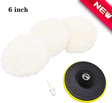 "4 Inch Soft Wool Buffing Pad Polishing Backing Buffer With 5//8/"" Drill Adapter"