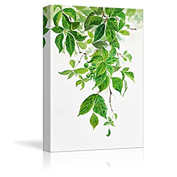 wall26 Canvas Wall Art – Green Leaves – Watercolor Painting Style Art Reproduction – Modern Home Decoration – 16 x24