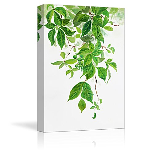 wall26 Canvas Wall Art - Green Leaves - Watercolor Painting Style Art Reproduction - Modern Home Decoration - 16