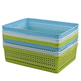 Cand Plastic Tray Basktes for File, Paper, Letter, 6 Packs