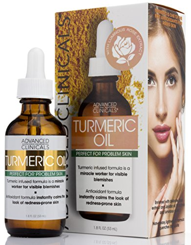 Advanced Clinicals Turmeric Oil for face. Antioxidant formula with Rose Extract and Jojoba oil for dry skin, redness…