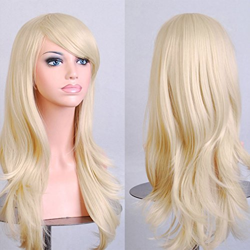 Linen-Blonde-Anime-Cosplay-Synthetic-Wig-Long-Layered-Curly-Wavy-Heat-Resistant-Fiber-Full-Wig-with-Bangs-23-58cmStretchable-Elastic-Wig-Net-for-Women-Girls