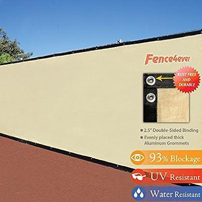 4' x 50' 3rd Gen Tan Beige Fence Privacy Screen Windscreen Shade Fabric Mesh Tarp (Aluminum Grommets)
