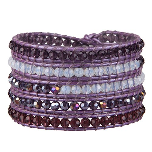 KELITCH Natural Leather Bracelet Clear Faceted Crystal Beaded Wrap Bracelet for Women Girls