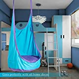 CO-Z Kids Pod Swing Child Hanging Chair Indoor Kid Hammock Seat Pod Nook (Upgraded Two Straps, Blue)