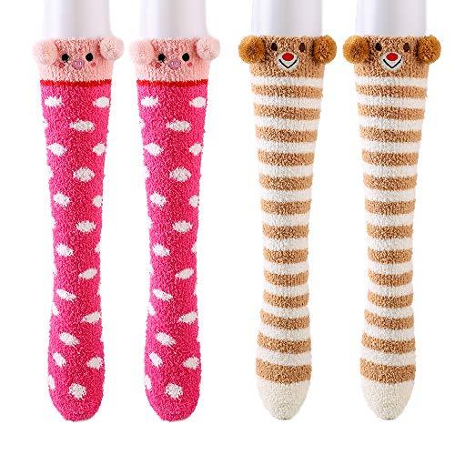 Womens Girls Fuzzy Soft Slipper Socks Animal Calf High Winter Plush Fuzzy Socks Home Sleeping Socks (Red Pig/Orange Bear)