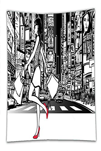 Nalahome Fleece Throw Blanket Girly Decor Collection Girl Shopping in Times Square New York at Night Cityscape Monochromic Sketch Print White - Ohio Cleveland In Shopping