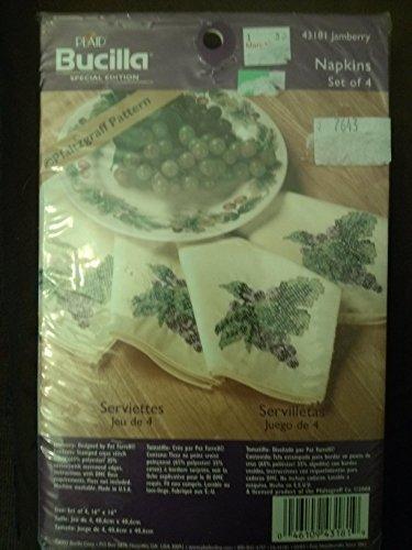 Stamped Cross Stitch Kit Jamberry Napkins Set of 4 16x16