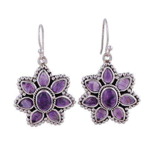 Drop Hook Earrings Amethyst (NOVICA .925 Sterling Silver Amethyst Flower Dangle Hook Earrings, 'Purple Blossom')
