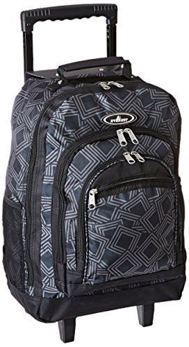 Everest Wheeled Backpack with Pattern, Dark Gray, One Size