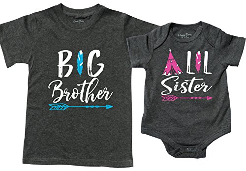 Feisty and Fabulous Baby Girl and Older Brother Set, Camp Set, Gray, Size 2 and 3-6 Months -
