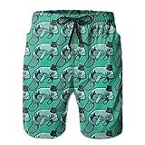 HSJOTT Hat Manatee Men's Swim Trunk Beach Shorts
