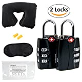 Luggage Locks TSA Approved (2 Pack) Open Alert and Travel Accessories Kit