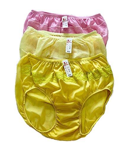 b9029b12bfe Jenny 3 Pack Women s Nylon Vintage Panties Lace Brief Underwear Knickers  (Yellow   Pink) - Buy Online in Oman.