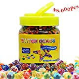 QMay Water Beads,42000 Pcs,Water Gel Beads Pearls Rainbow Mix Gel Bead for Vase Filler, Wedding Centerpiece, Home Decoration, Plants, Toys