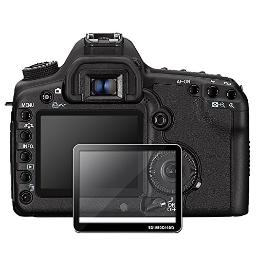 Insten® Twin Pack Glass LCD Screen Guard film Compatible with Canon EOS 40D/ 50D / 5D Mark II