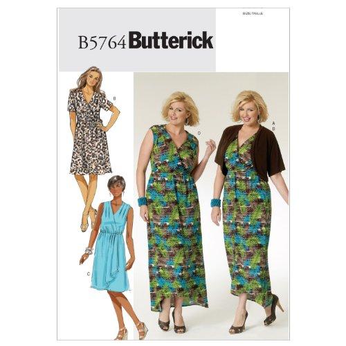 Butterick Patterns B5764 Women's Shrug, Dress and Belt, Size KK (26W-28W-30W-32W) (Waist Dress Pattern)