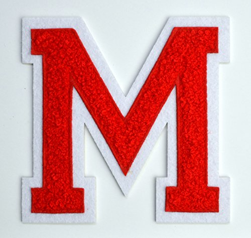 Varsity & College Athletics 4 1/2 Inch Iron-on Heat Seal or Sew On Embroidered Chenille Patch (RED, Letter M) Letter Jacket Letters