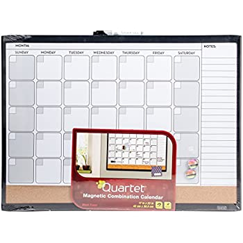 "Quartet Dry Erase Board / Cork Board, Calendar Board, Magnetic, 17"" x 23"", 1-Month Design with List, Black Frame (79380-WM)"