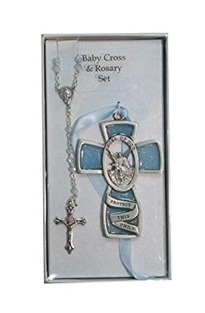 Blue Guardian Angel Wall Cross Rosary Set Childrens Baby Infant Boy Christening Baptism.