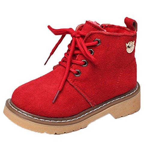 Ohmais Kinder Mädchen Junge Halbschuhe Stiefel und Stiefeletten klassische kleines Mädchen Schuh Rot