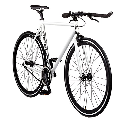 Big Shot Bikes | Copenhagen White | Fixie Track Bike | Single Speed or Fixed Gear | White & Black Accents | for Men & Women | Rider Height 5'11