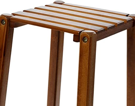 WOAINI Bamboo Tall Stand para plantas Soporte para macetas Mesa de espacio pequeño, estante para flores de 2 niveles Soporte para plantas Estantería de madera Estante de almacenamiento de usos múltipl: Amazon.es: