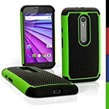 iGadgitz Black and Green Hard PC Back Shell Cover & Silicone Bumper Case for Motorola Moto G 3rd Generation 2015 XT1540 (G3) + Screen Protector