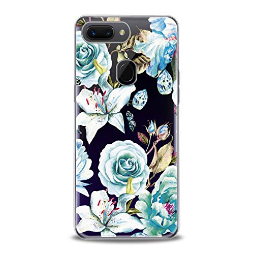 Lex Altern Oppo TPU Case R17 Realme 2 Pro 1 R15 F7 F9 K1 A7x A5 A3s Vintage Light Blue Roses Flowers Flexible Floral Lily Clear Cover Print Fashion Girl Luxury Women Protective Silicone Transparent