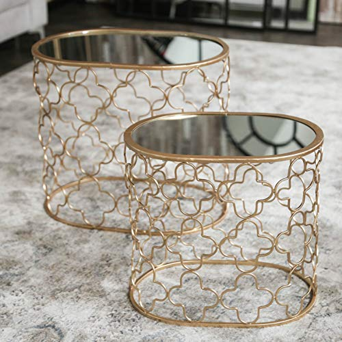 (Urban Trends Oval Nesting Accent Table with Mirror Top and Quatrefoil Design Body Set of Two Metallic Finish Gold)