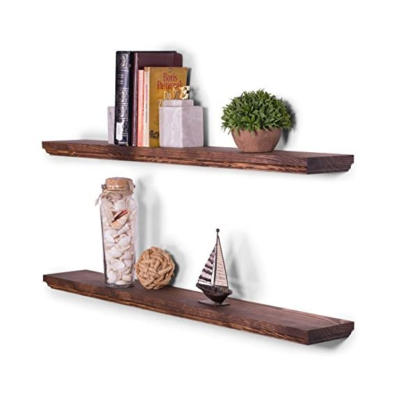 "DAKODA LOVE 5.25"" Deep Routed Edge Floating Shelves, USA Handmade, Clear Coat Finish, 100% Countersunk Hidden Uni-Brackets, Beautiful Grain Pine Wood Wall Decor (Set of 2) (36"", Bourbon) - 36 inch long floating shelves with routed edges. Sits flush against wall with 100% countersunk Uni-Brackets (includes all mounting hardware) Handcrafted with furniture grade dry kilned pine wood Hand wiped stain and clear coat finish - wall-shelves, living-room-furniture, living-room - 51v85eKBh4L. SS570  -"