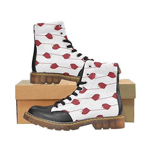 InterestPrint Martin Boots Red Love Hearts Unique Designed Lace Up Apache Round Toe Women's Winter Boots