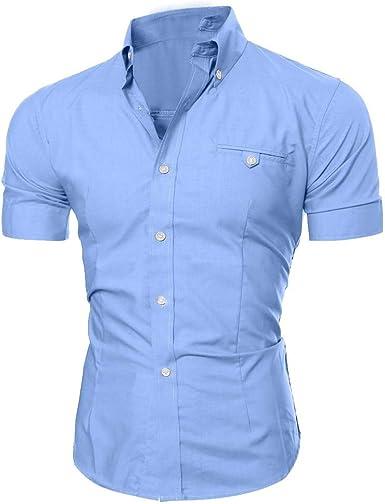 blusas para hombre Camiseta Elástica Casual/Formal para Hombre camisas hombre manga corta, Slim Fit, Camisa de manga corta para hombre de negocios Camisetas Deporte Clásico Plaid Cuello T-Shirt: Amazon.es: Ropa y accesorios