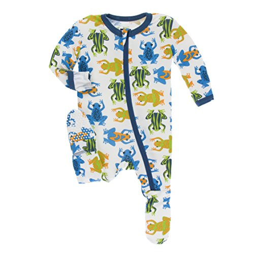 Footed Sleeper Girls Frog (Kickee Pants Little Boys Print Footie with Zipper - Amazon Frogs, 9-12 Months)