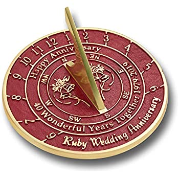 The Metal Foundry 40th Ruby Wedding Anniversary 2019 Sundial Gift Idea is A Great Present for Him, for Her Or for A Couple to Celebrate 40 Years of Marriage