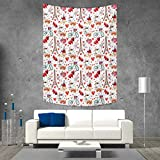 smallbeefly Romantic Tapestry Wall Tapestry Valentines Day Love Themed Paris Coffee Wine Parfumes Bikes with Heart Backdrop Art Wall Decor 51W x 60L INCH Multicolor