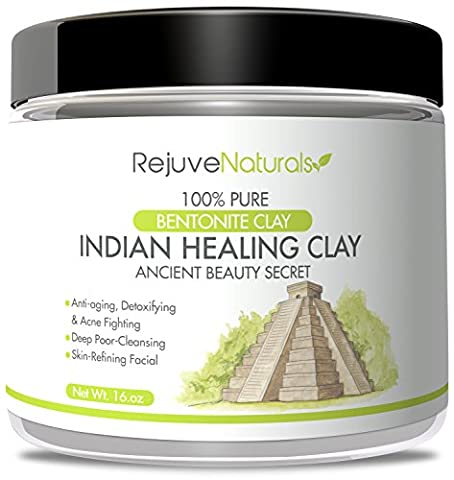 Sodium Bentonite Indian Healing Clay, 16 oz. ~ 100% Pure Powder ~ Use as a Deep Cleansing, Detox Mask / Mud Pack for Blemishes and Clogged Pores ~ All Natural, Made in the USA, GMO - Therapy Bath 1 Lb Powder