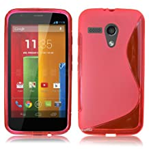 Motorola Moto G 1st Gen G1 Cover , Skypillar® Flexible Soft TPU Silicone Rubber Case - Hot Pink
