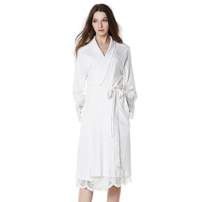 Las mujeres de largo bata pijama de algodón Estrella Hoteles] Sexy Plus size Blanco perla