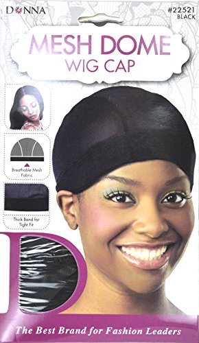 (Donna Mesh Dome Wig Cap Black, lightweight, thick band, tight fit, perfect fit, mesh fabric, breathable material, comfortable, soft, by Donna Collection ...)