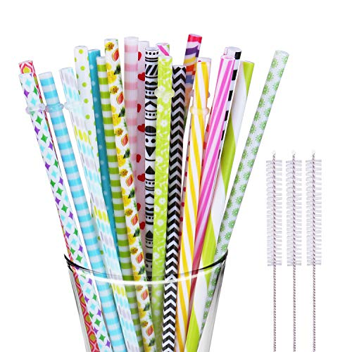 30 Pieces Reusable Straws BPA Free Non Smell Drinking Straws