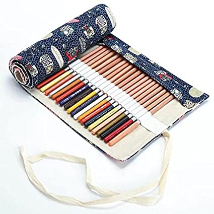 Creative Canvas Roll Up Pencil Case Large Capacity Pen Pencil Pouch Holder Color Pencils Wrap Stationery Case Pencil Organizer For Student Artist