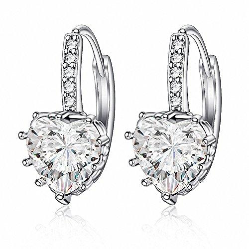 megko 925 Sterling Silver Heart Cubic Zircon Crystal Huggie Hoop Earrings Leverback Drop Earrings for Women ()