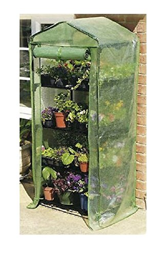 Happy Planter 4-Tier Portable Greenhouse with Four Steel Shelves and Anti UV PE Mesh Cover, Mini ()
