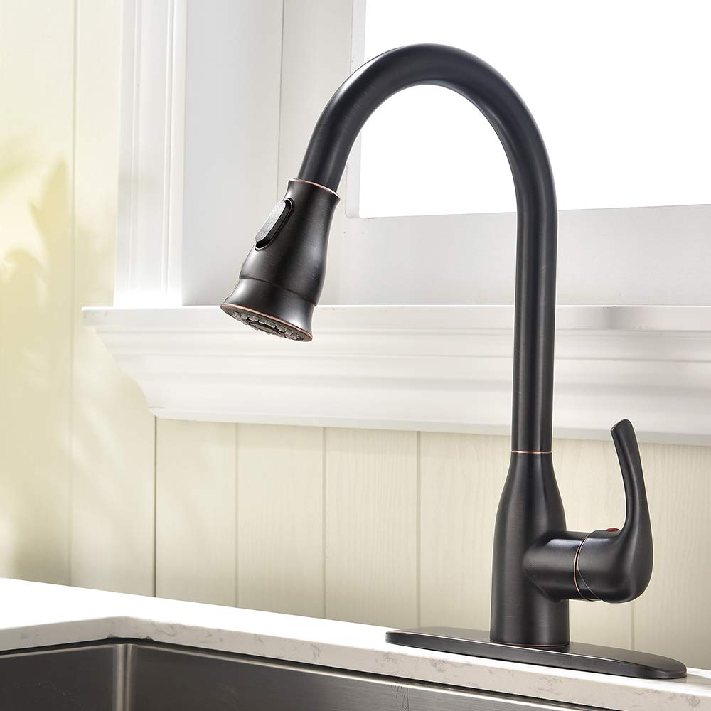 Solid Brass Single Handle Pull Out Sprayer Oil Rubbed Bronze Kitchen Faucet, Pull Down Kitchen Sink Faucet With Deck Plate