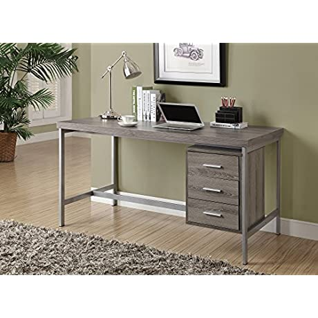 Monarch Reclaimed Look Silver Metal Office Desk 60 Inch Dark Taupe